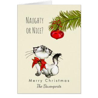 Noël espiègle vilain ou Nice de chat de Kitty Carte De Vœux