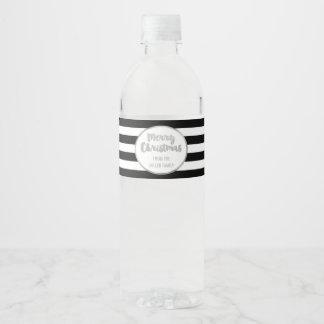 Noël fait sur commande argenté de rayures noires étiquette pour bouteilles d'eau