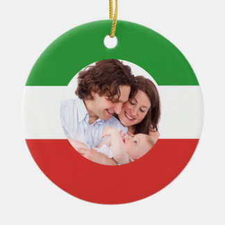 Noël fait sur commande de photo de famille ornement rond en céramique