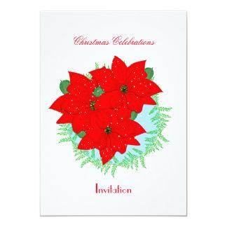 Noël fleurit la guirlande de fête de poinsettia carton d'invitation  12,7 cm x 17,78 cm