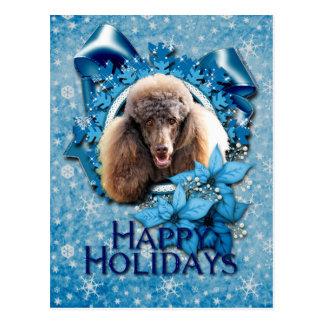 Noël - flocon de neige bleu - caniche - chocolat cartes postales