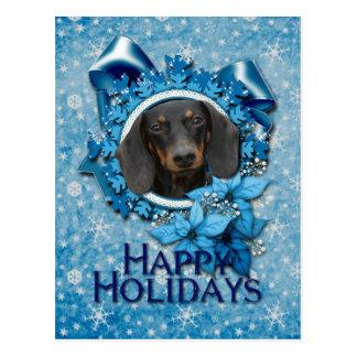 Noël - flocon de neige bleu - teckel - Winston Carte Postale
