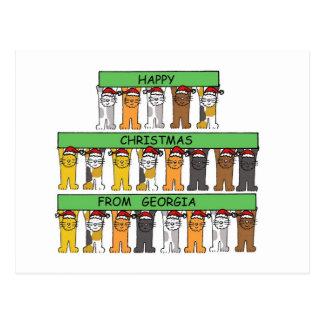 Noël heureux de chats de la Géorgie Carte Postale