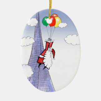 Noël heureux de ShardArt par Fernandes élégant Ornement Ovale En Céramique