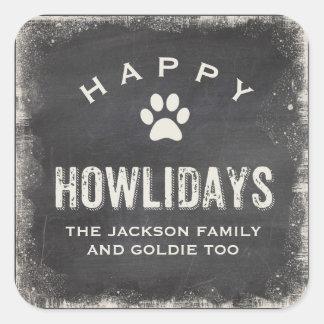 Noël heureux drôle d'amoureux des chiens de sticker carré
