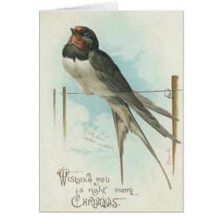 Noël - hirondelle vintage d'image cartes