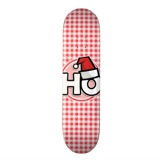 Noël HO ; Guingan rouge et blanc Skateboards Personnalisés