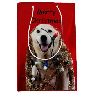 Noël jaune de laboratoire sac cadeau moyen