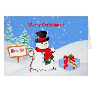 Noël, joyeux, bonhomme de neige, cadeau, neige carte de vœux