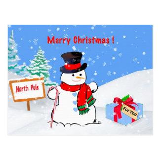 Noël, joyeux, bonhomme de neige, cadeau, neige carte postale