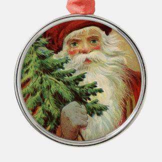 Noël joyeux de Père Noël de Vieux Monde Ornement Rond Argenté