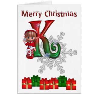 Noël K de monogramme de carte