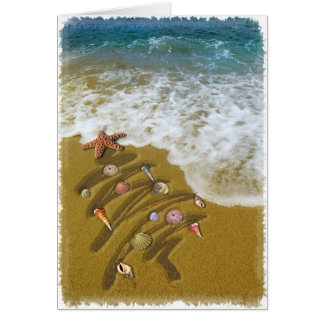 Noël lavé sur le rivage carte de vœux