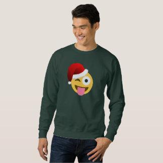 Noël le père noël clignant de l'oeil à hommes sweatshirt