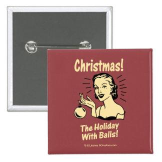 Noël : Les vacances avec des boules Badge Carré 5 Cm