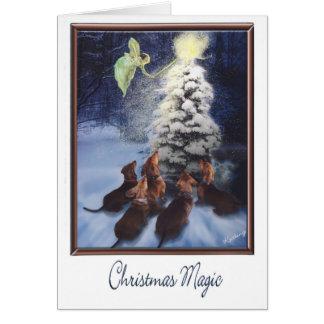Noël magique de teckel carte de vœux