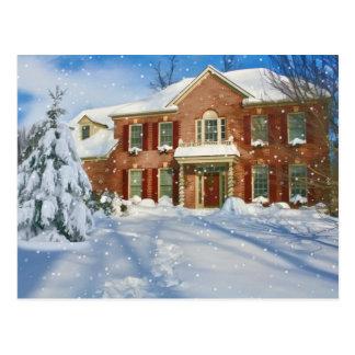 Noël, maison avec la scène de Milou Carte Postale