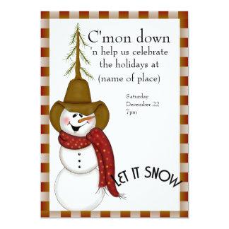Noël mignon de bonhomme de neige de cowboy d'art carton d'invitation  12,7 cm x 17,78 cm