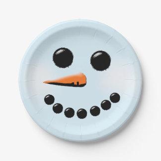 Noël mignon de bonhommes de neige de vacances assiettes en papier