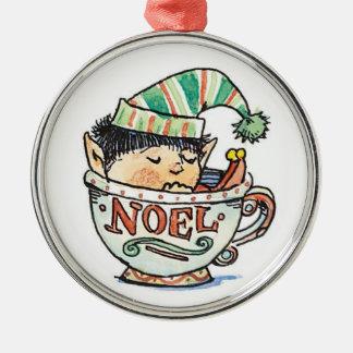 Noël mignon Elf de bande dessinée dormant dans une Ornement Rond Argenté