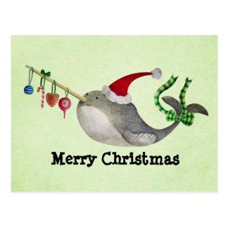 Noël mignon Narwhal Carte Postale