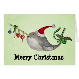 Noël mignon Narwhal Cartes