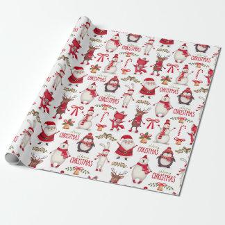 Noël moderne Santa, pingouins et ours blancs Papier Cadeau