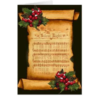 Noël : Musique de feuille silencieuse de nuit sur Carte De Vœux