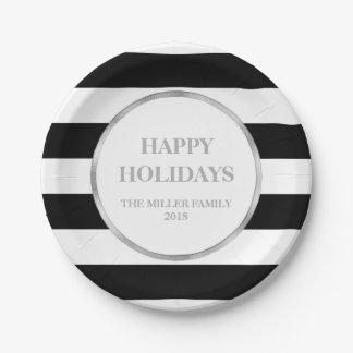 Noël noir argenté de rayures bonnes fêtes assiettes en papier