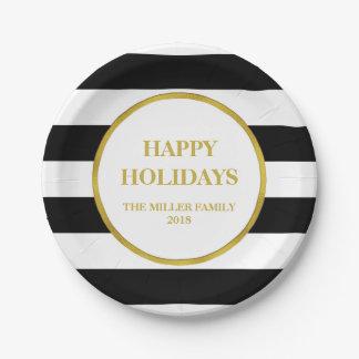 Noël noir de rayures d'or bonnes fêtes assiettes en papier