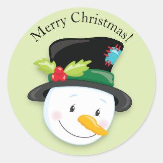 Noël noir de sourire de casquette supérieur de sticker rond