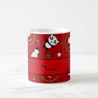Noël nommé personnalisé de Santa de panda rouge Mug Blanc