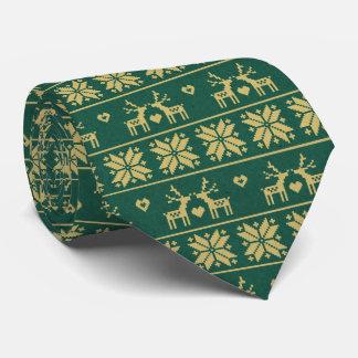 Noël nordique de vacances de vert de flocon de cravate