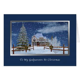 Noël, parrains, Chambre dans la scène d'hiver de M Carte De Vœux