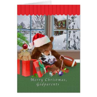 Noël, parrains, chat, ours de nounours carte de vœux