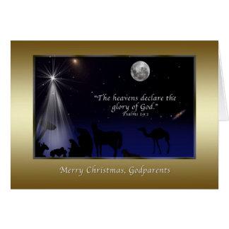 Noël, parrains, nativité, religieuse carte de vœux