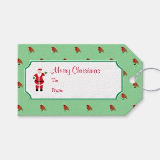 Noël Père Noël et étiquette de cadeau de Robin