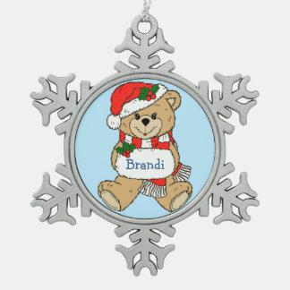 Noël personnalisé câlin d'ours de nounours ornement flocon de neige pewter