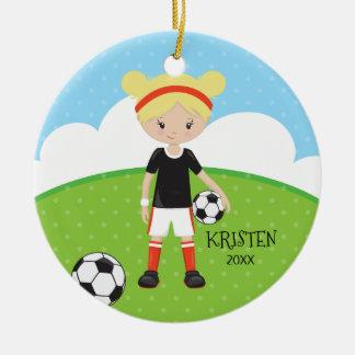 Noël personnalisé par football blond mignon de ornement rond en céramique