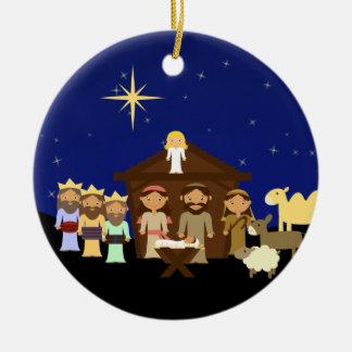 Noël personnalisé par nativité adorable ornement rond en céramique