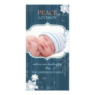 Noël Photocards de bébé de joie d amour de paix no Photocarte