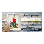 Noël polaroïd 2 de plage d'étoiles de mer modèle pour photocarte