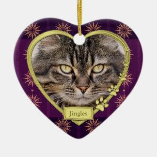 Noël pourpre commémoratif de photo de coeur d'or ornement cœur en céramique