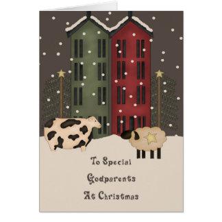Noël primitif de parrains de vache et de moutons carte de vœux