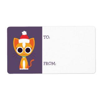 Noël Purrl le chat Étiquettes D'expédition