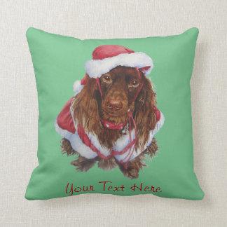 Noël réaliste d'art de chien mignon d'épagneul coussin