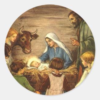 Noël religieux vintage, nativité, bébé Jésus Autocollants Ronds