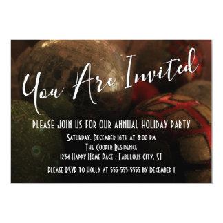 Noël rond ornemente la photo, fête de vacances carton d'invitation  12,7 cm x 17,78 cm