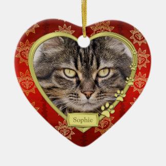 Noël rouge commémoratif de photo de coeur d'or de ornement cœur en céramique