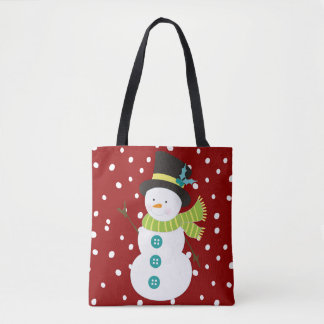 Noël rouge de chute de neige de bonhomme de neige tote bag